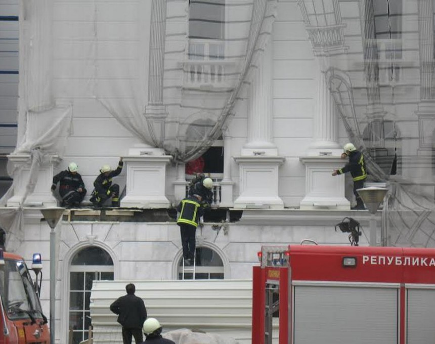 Пожарот избувнал додека на фасадата се изведувале градежни работи