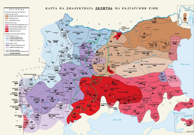 Мапа на бугарски дијалекти
