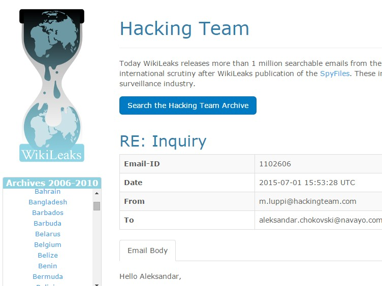 wikileaks haking team
