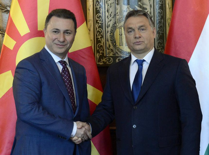 Macedonian Prime Minister Nikola Gruevski, left, and his Hungarian counterpart Viktor Orban shake hands during their meeting in the Parliament building in Budapest, Hungary, Friday, Nov. 20, 2015. (Lajos Soos/MTI via AP)