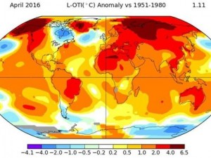 nasa april temperatura