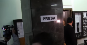 separate area for journalists in the DNA building in Bucharest