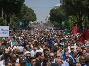 protest in Tirana