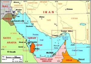 katar iran mapa