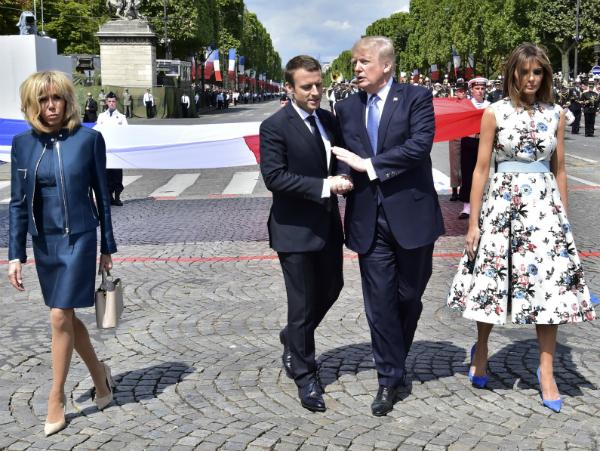 Pariz Denot na Bastilja Tramp Makron 14jul17