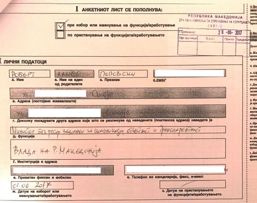 potvrda za anketen list na Robert Popovski
