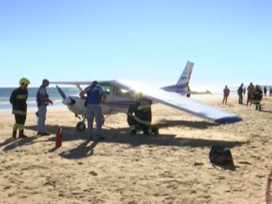Cesna prinudno sletuvanje plazha Portugalija zaginati - 2avg17 - screenshot