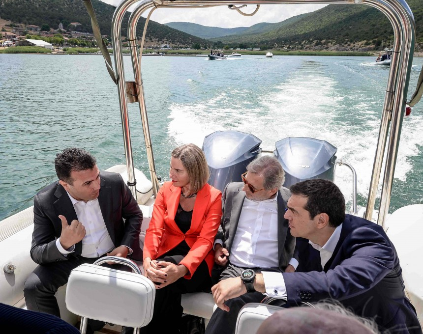 Zaev, Cipras, Han, Mogerini Prespa
