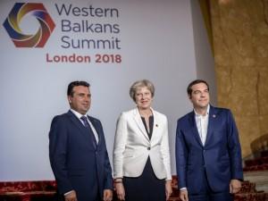 Zoran Zaev Tereza Mej Aleksis Cipras samit Zapaden Balkan vo London 10jul18 - Vlada