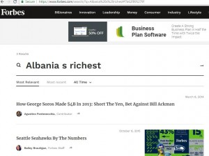 no info for Albanias rich by Forbes