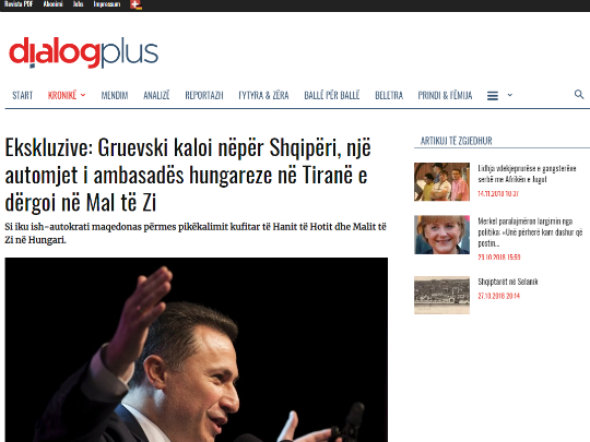 Gruevski izbegal preku Albanija - screenshot Ekskluzive_ Gruevski kaloi nëpër Shqi dialogplus ch