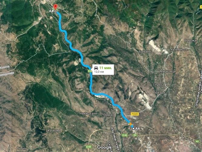 Pat Skopje Blace mapa