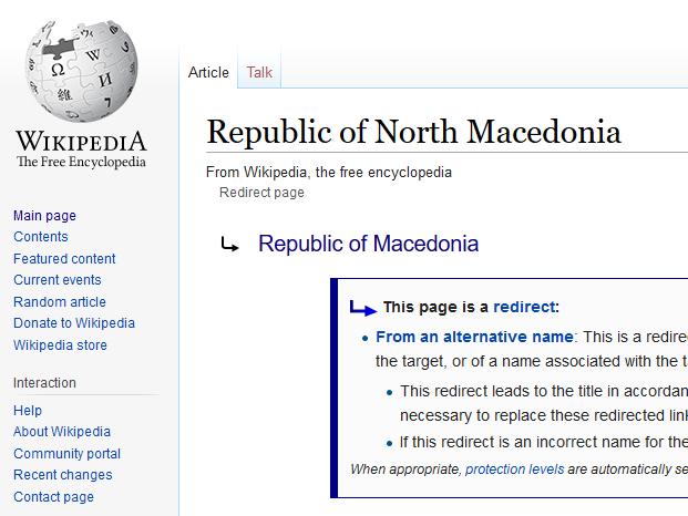 Wikipedia hastily changes Macedonia to North Macedonia, but