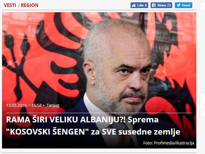 Srbija Danas Edi Rama navodna Golema Albanija 13mar19