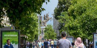 Ulica Makedonija lugje toplo Voin na konj spomenik Aleksandar bilbord